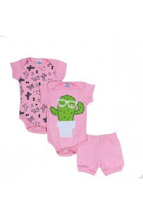 conjunto kit body rosa piradinhos