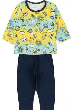 pijama menino infantil piradinhos inverno amarelo