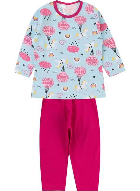 pijama inverno menina piradinhos azul