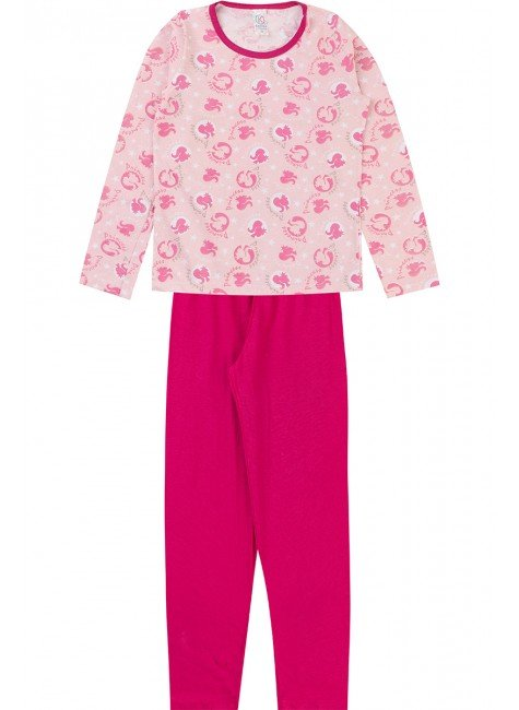 conjunto pijama piradinhos inverno menina pink
