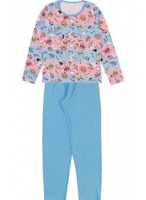 conjunto pijama piradinhos inverno menina azul