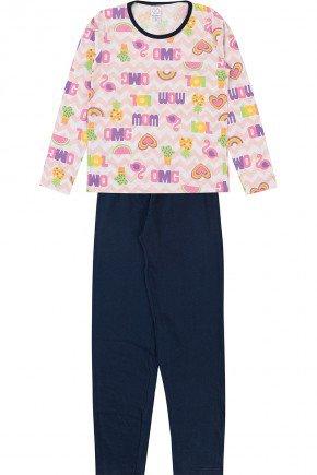 conjunto pijama piradinhos inverno menina rosa