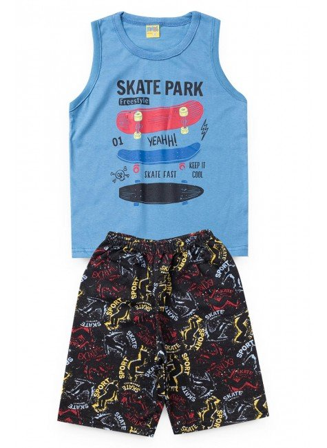conjunto azul skate regata piradinhos