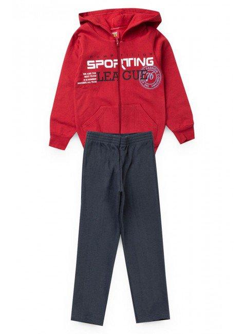 conjunto vermelho ziper sporting piradinhos