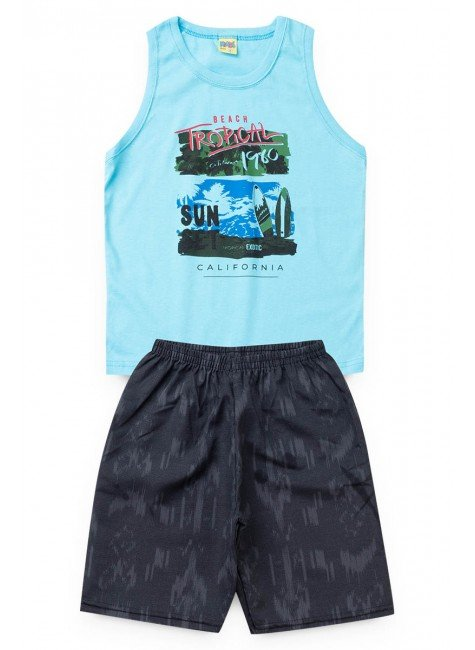 conjunto azul tropical regata piradinhos