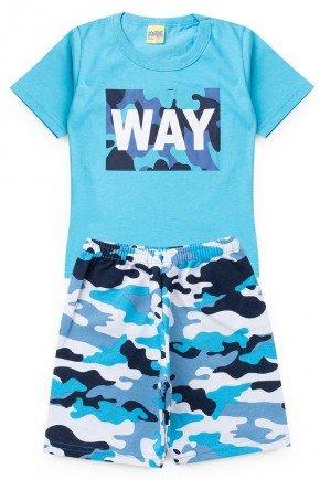 conjunto azul piradinhos masculino way menino