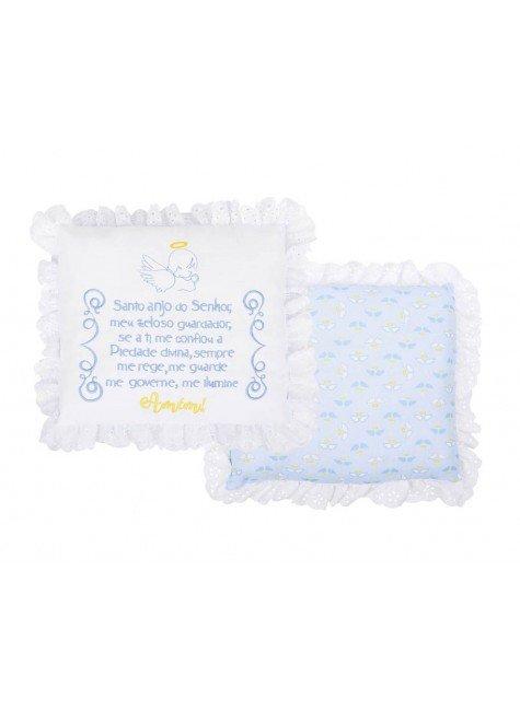 05000102020001 Almofada de Cotele Bordada e Bordado em Tira Bordada Azul