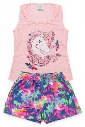 conjunto blusa rosa tie dyeunicornio piradinhos verao menina infantil regata