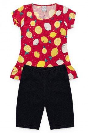 conjunto preto vermelho menina piradinhos verao infantil limao