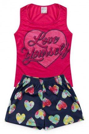 conjunto marinho pink menina piradinhos verao infantil coracao