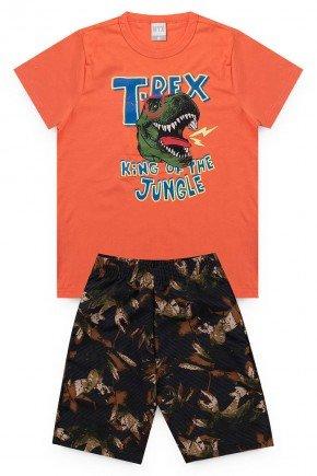 conjunto laranja dinossauro verao menino piradinhos