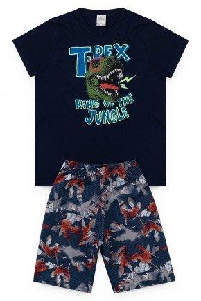 conjunto marinho bermuda camiseta dinossauro verao piradinhos