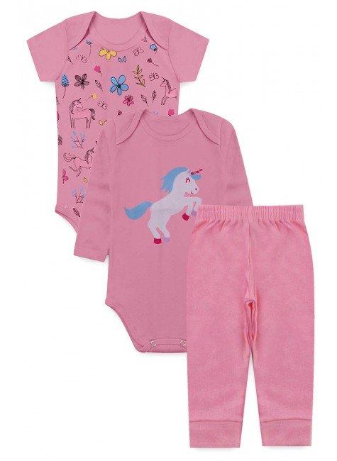 conjunto piradinhos bebe menina infantil unicornio rosa