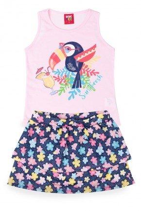 conjunto rosa menina infantil tucano piradinhos verao