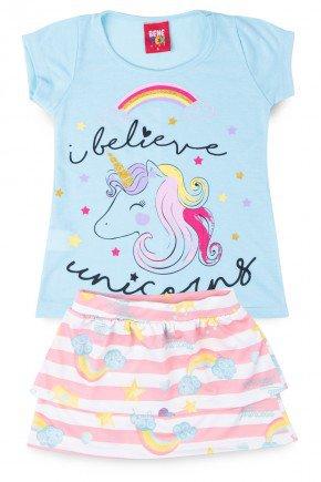 conjunto unicornio azul piradinhos menina infantil verao