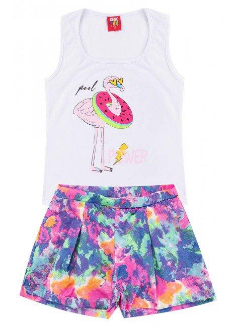 conjunto juvenil colorido tiedye flamingo piradinhos verao