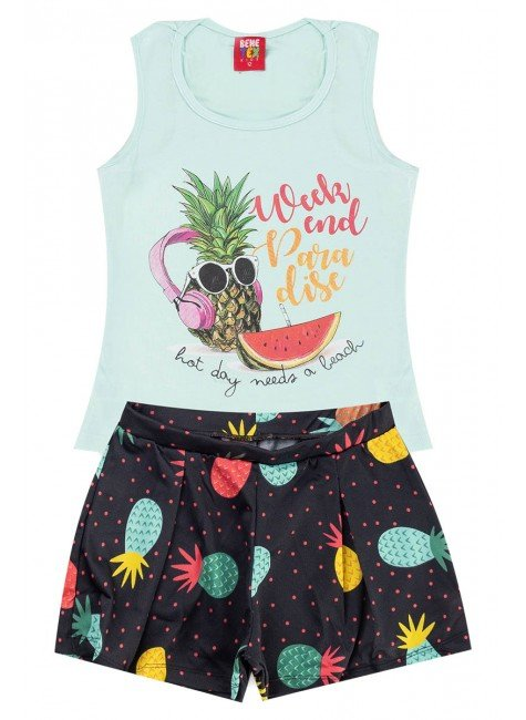 conjunto abacaxi piradinhos verao menina juvenil