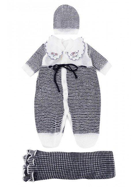 saida de maternidade bebe piradinos trico unissex branco preto kit