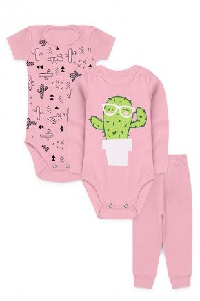 kit bodys calca rosa bebe kappes cacto inverno