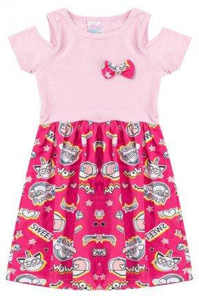 vestido rosa pink piradinhos menina laco recorte juvenil piradinhos
