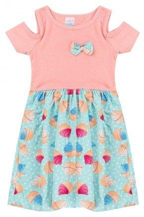 vestido cupcake coral piradinhos menina infantil verao