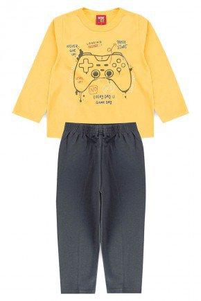 conjunto infantil videogame amarelo piradinhos benetex meiaestacao