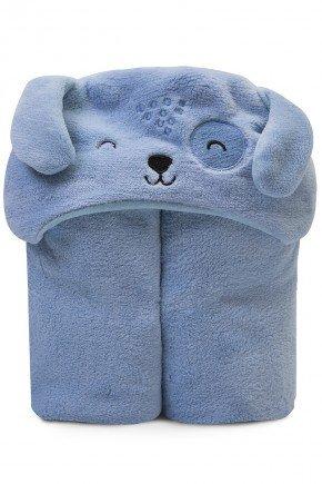 cobertor microfibra capuz bebe papi piradinhos azul