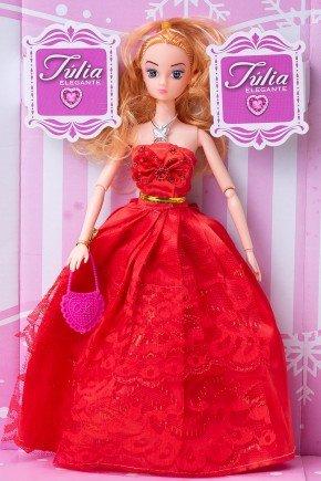 boneca julia elegante vermelho brinquedo menina piradinhos futuro brasil infantil
