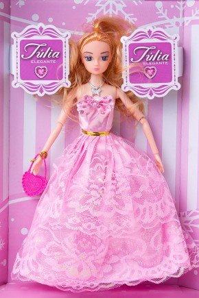 boneca julia elegante rosa brinquedo menina piradinhos futuro brasil infantil