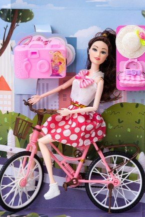 boneca julia ciclista poa brinquedo menina piradinhos futuro brasil infantil