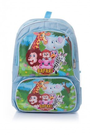 mochila infantil safari azul piradinhos animais