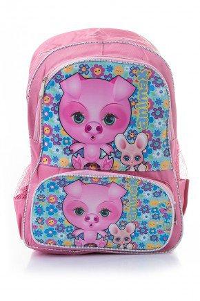 mochila infantil rosa piradinhos porquinho