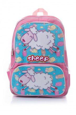 mochila infantil rosa piradinhos ovelha