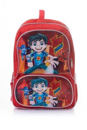 mochila menino vermelho piradinhos infantil