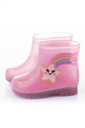 galocha arco iris piradinhos rosa