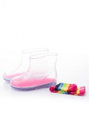 galocha colorido rosa piradinhos menina meia transparente