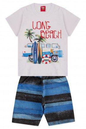 conjunto camiseta bermuda moletinho piradinhos branco long beach menino
