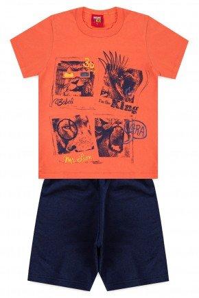 conjunto camiseta bermuda moletinho piradinhos laranja leao verao menino