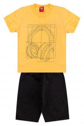 conjunto camiseta bermuda moletinho piradinhos amarelo fone verao menino copia