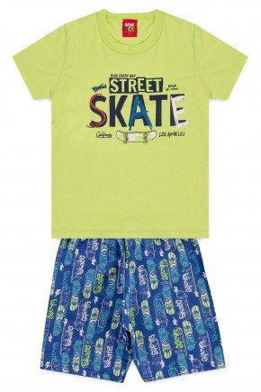conjunto camiseta bermuda moletinho piradinhos verde skate verao menino