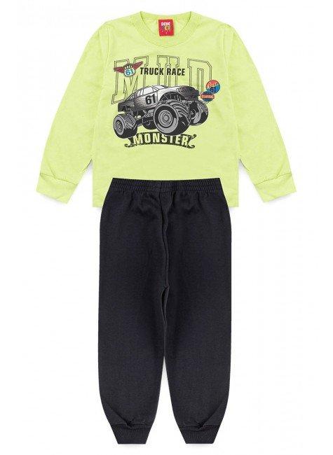 conjunto inverno camiseta calca piradinhos carro verde