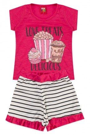 conjunto blusa short menina verao piradinhos pink pipoca