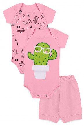 kit body piradinhos bebe menina rosa cartus