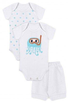 kit body menino bebe infantil branco piradinhos