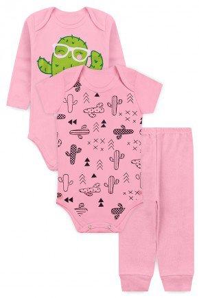 kit body rosa cactus piradinhos bebe menina
