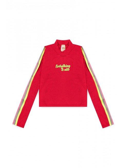 blusa piradinhos recorte infantil menina inverno vermelho