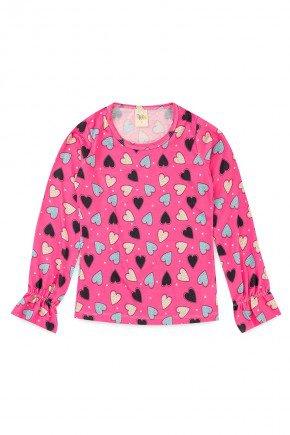 blusa piradinhos recorte infantil menina inverno rosa coracao estampa rotativa