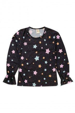 blusa piradinhos recorte infantil menina inverno rosa estrela estampa rotativa