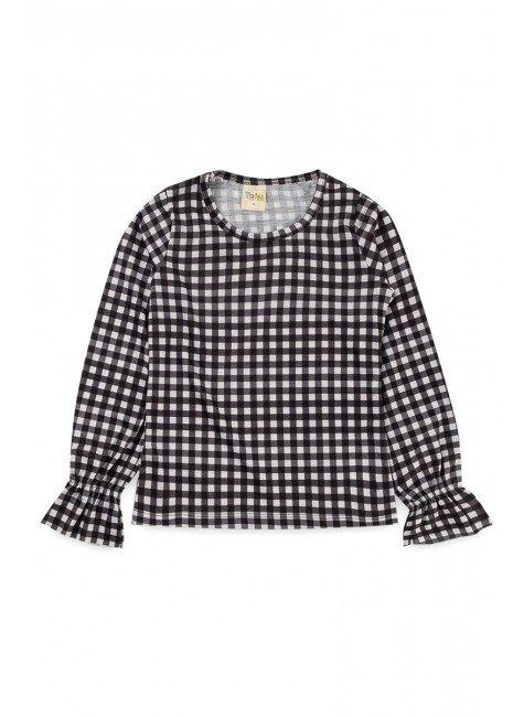 blusa piradinhos recorte infantil menina inverno rosa xadrez estampa rotativa