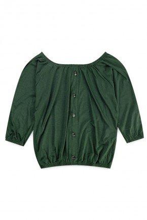 blusa piradinhos recorte infantil menina inverno verde ciganinha